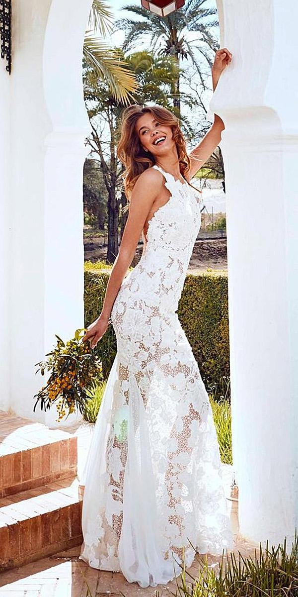 pronovias wedding dresses 2018 a line sleeveless full lace floral embellishment