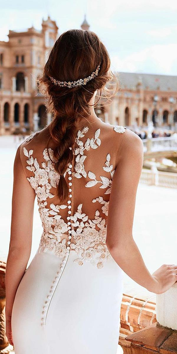 pronovias wedding dresses 2018 illusion back floral tatto effect