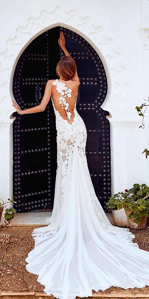 pronovias wedding dresses 2018 mermaid floral back tatto effect with train