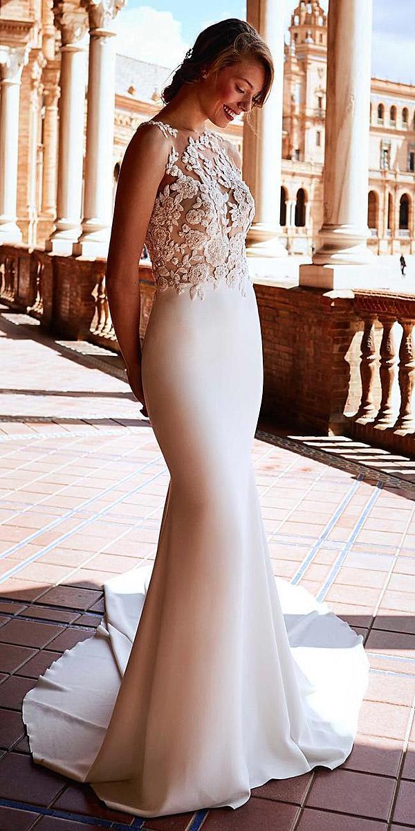 pronovias wedding dresses 2018 mermaid lace illusion top satin skirt
