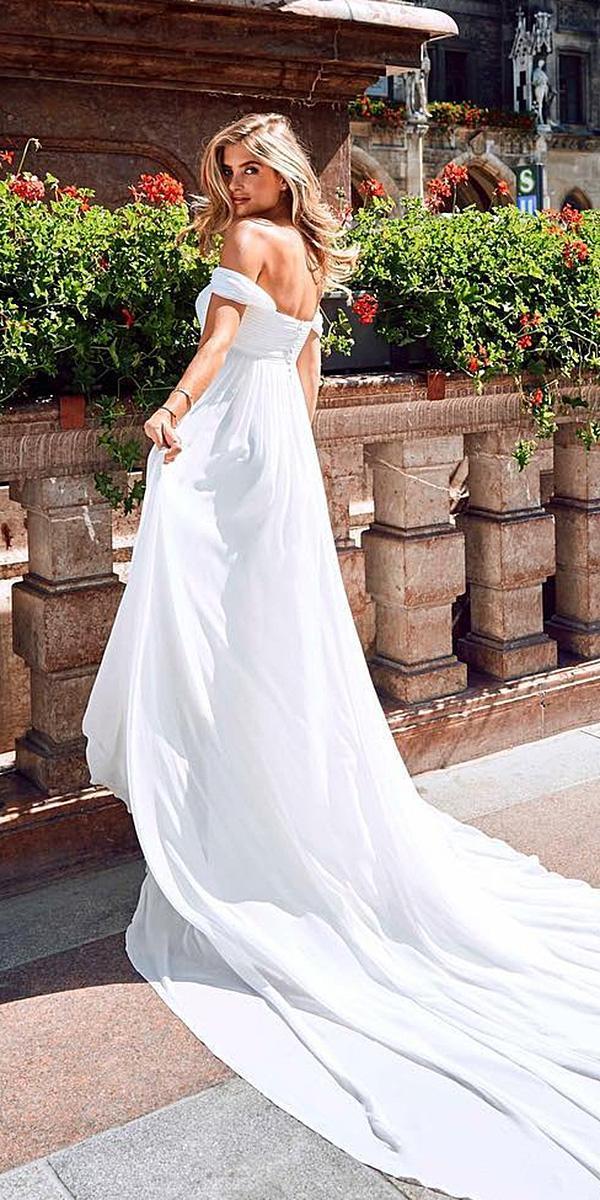 pronovias wedding dresses a line off the shoulder with train elegance 2018
