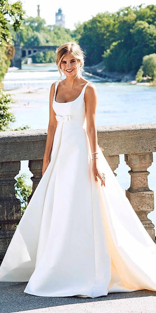pronovias wedding dresses a line square neckline elegant simple with train 2018