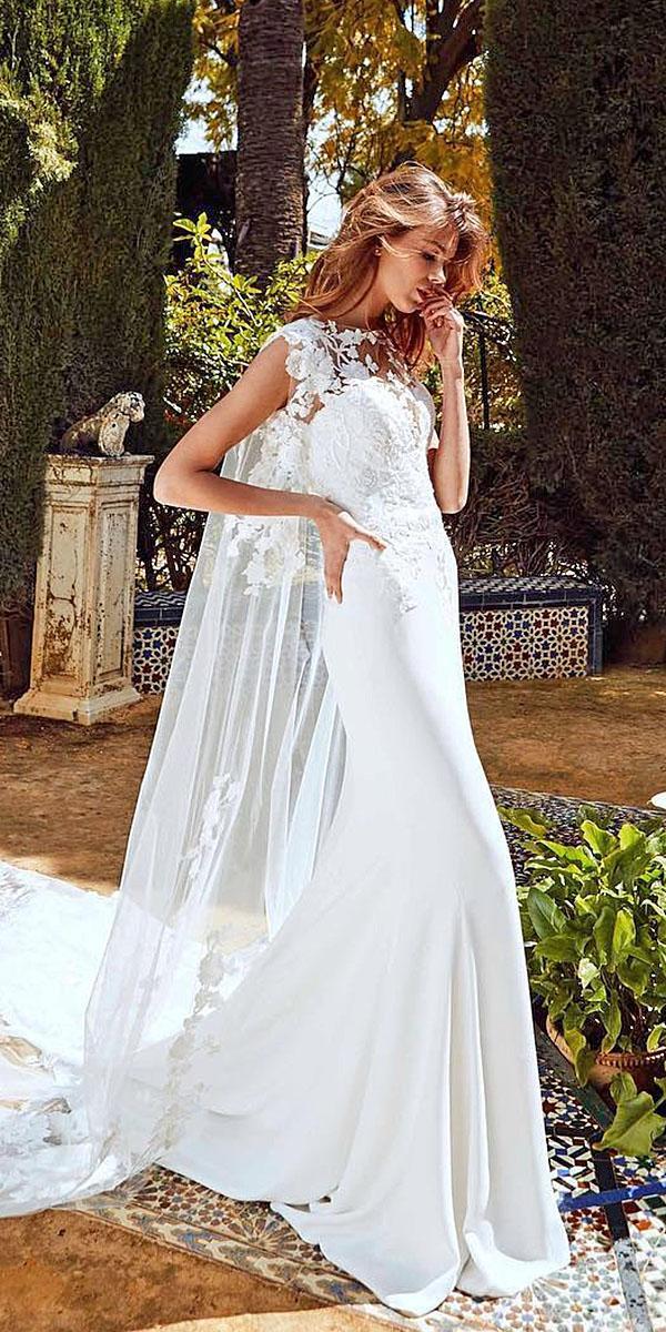 pronovias wedding dresses lace floral appliques with train 2018