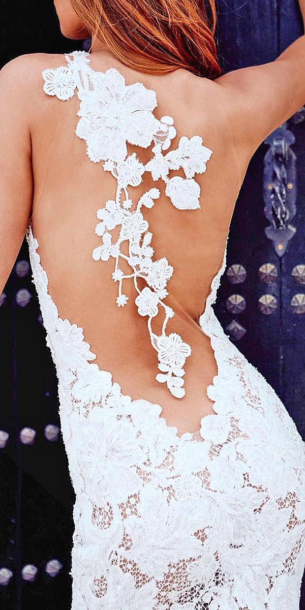 pronovias wedding dresses lace floral tatto back details 2018