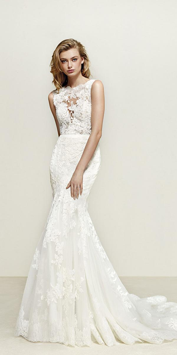 pronovias wedding dresses mermaid sleevesless floral applique 2018