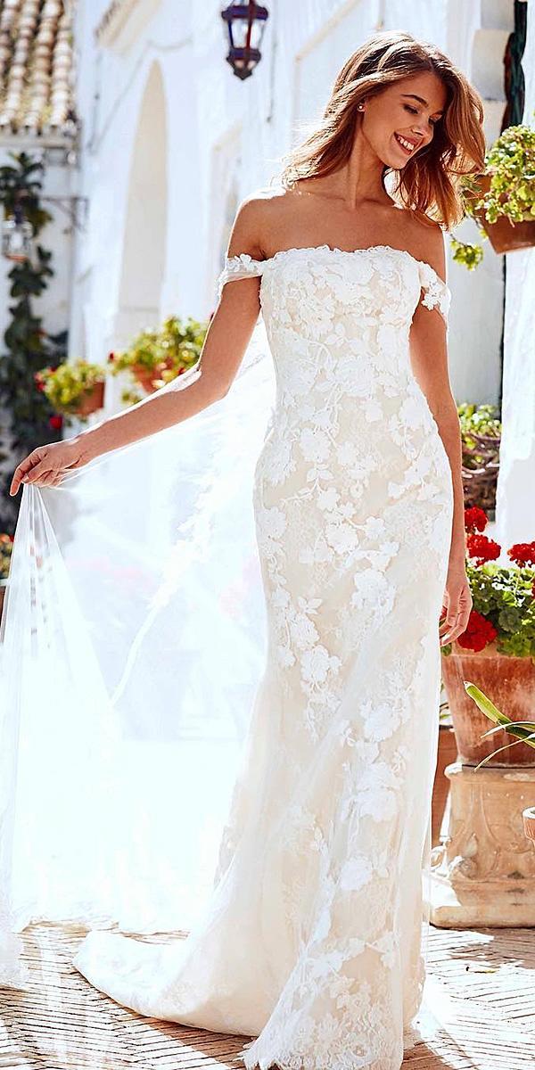pronovias wedding dresses off the shoulder floral embellishment blush 2018