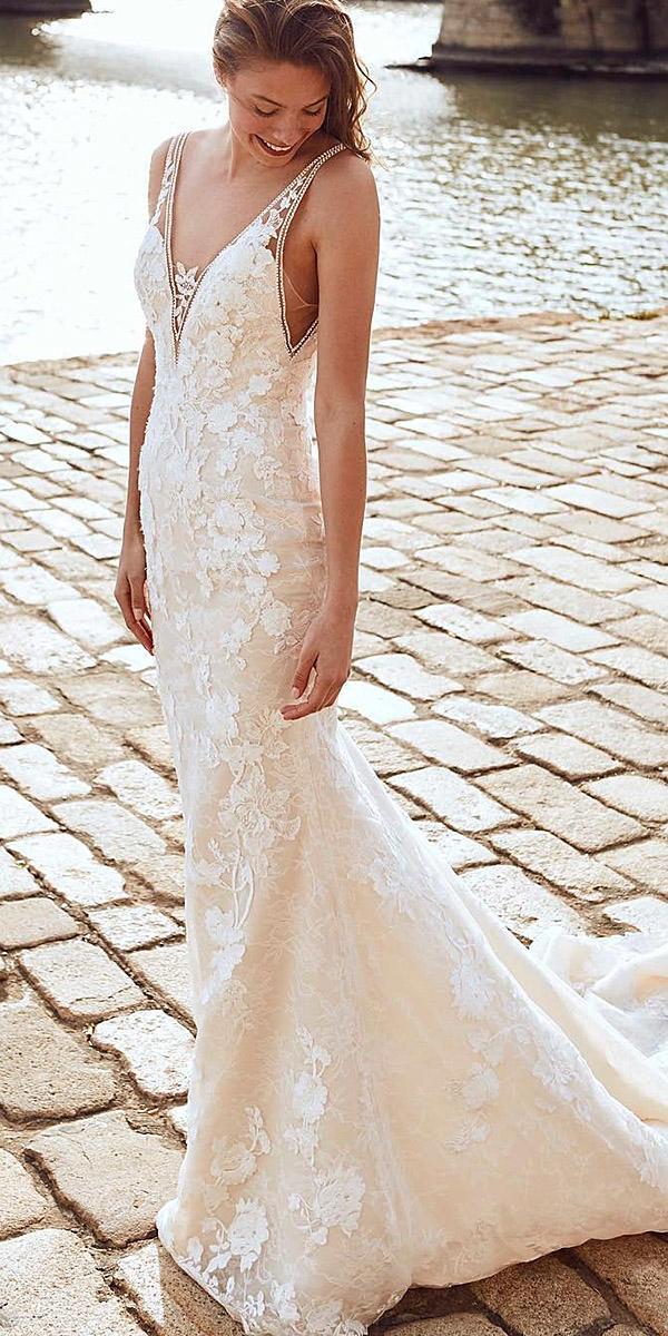 pronovias wedding dresses trumpet v neckline lace floral embellishment blush beaded 2018