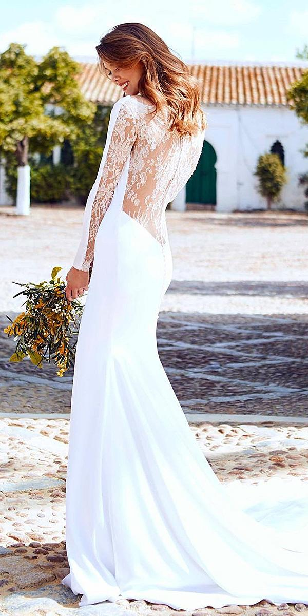 pronovias wedding dresses with sleeves lace back with train 2018