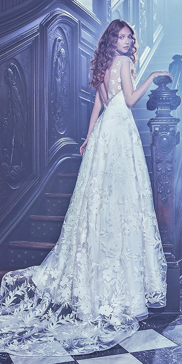 sareh nouri wedding dresses 2018 a line illusion back cap sleeves floral appliques