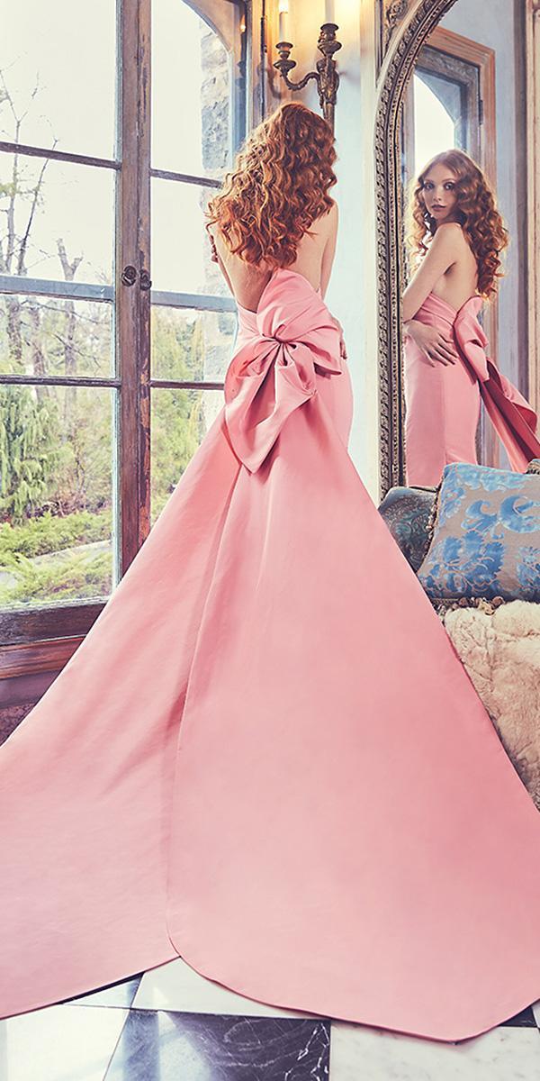 sareh nouri wedding dresses 2018 a line open back pink color elegant