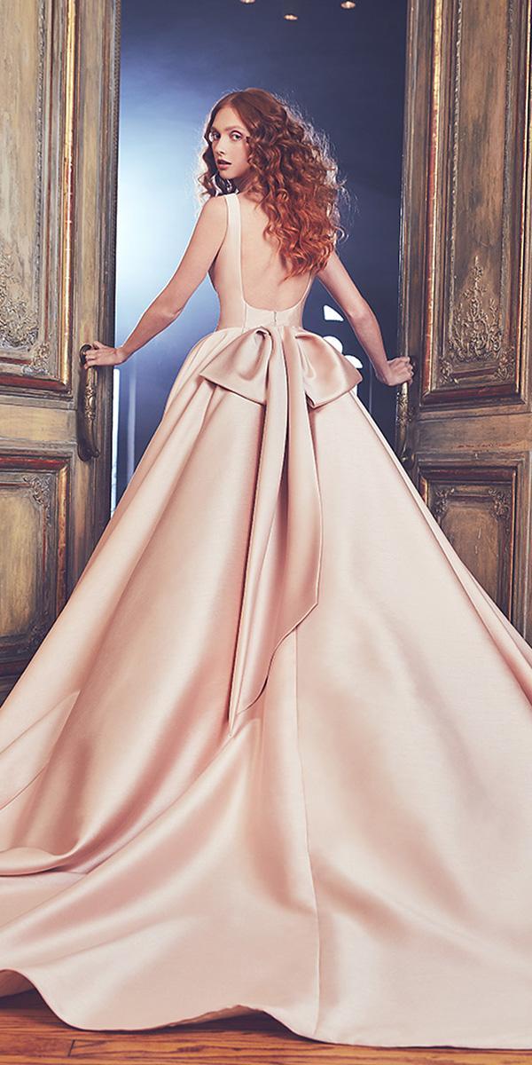 sareh nouri wedding dresses 2018 ball gown bare back blush sleeveless
