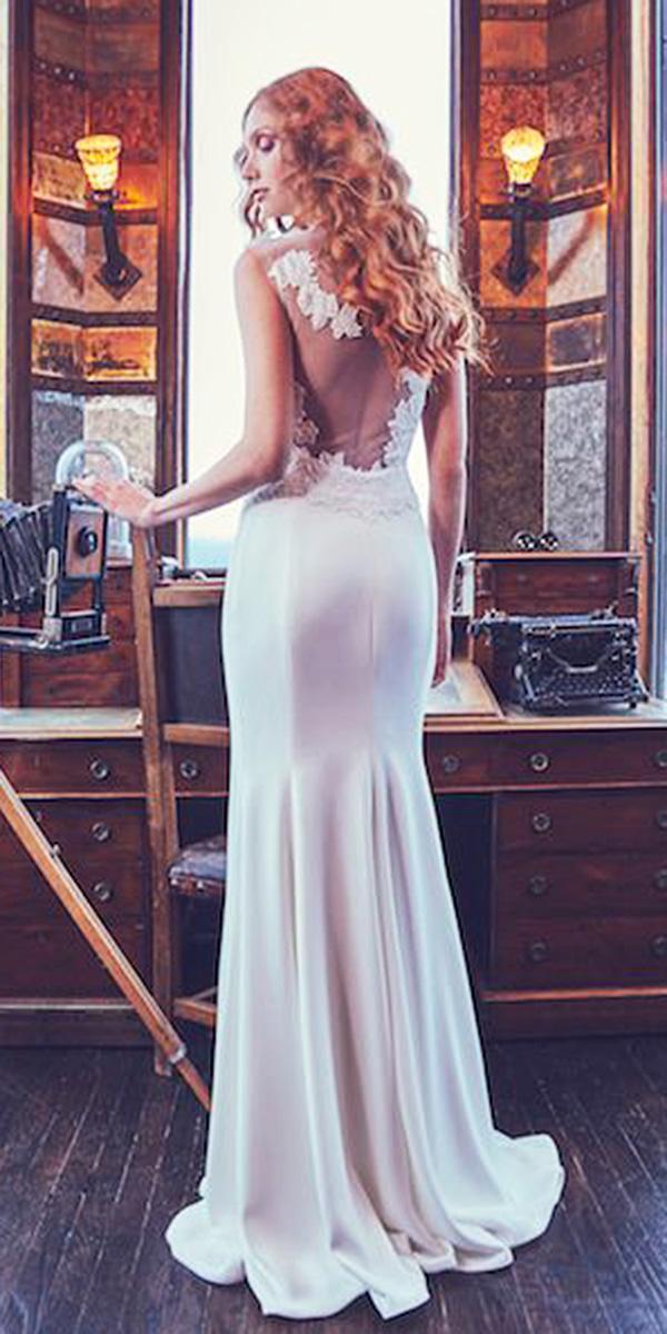 sareh nouri wedding dresses 2018 sheath illusion lace back