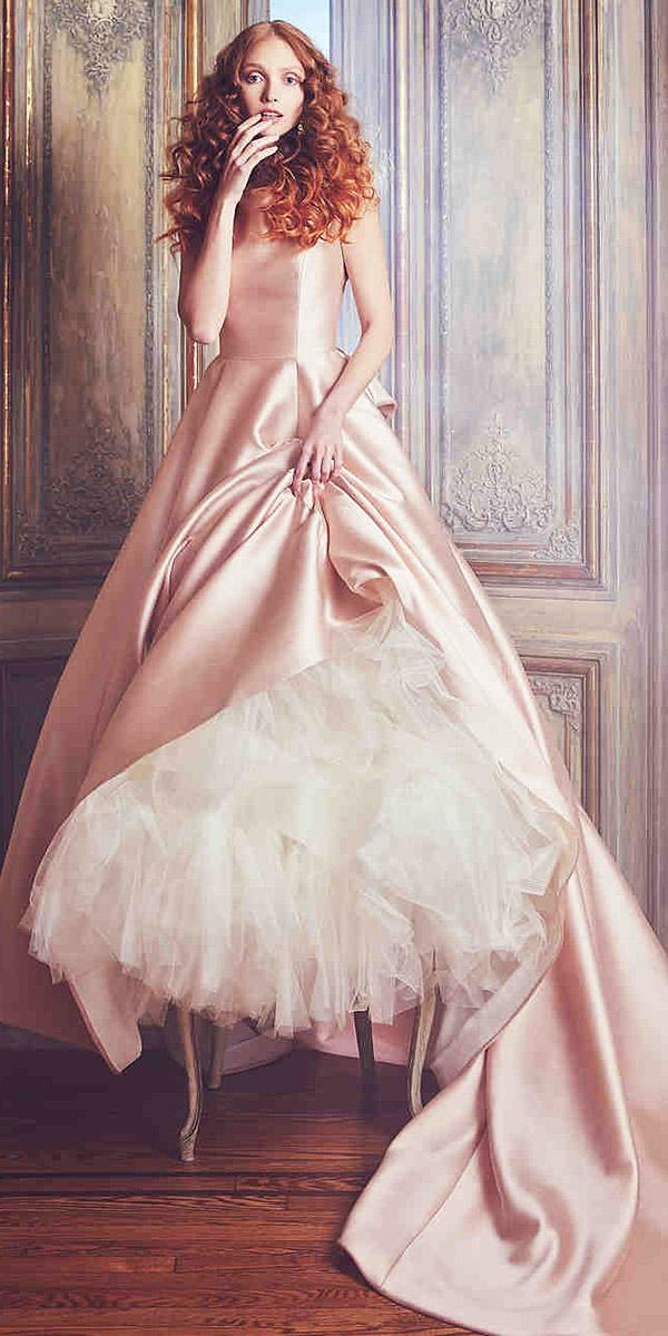 sareh nouri wedding dresses a line boathneck sleeveless with train blush 2018