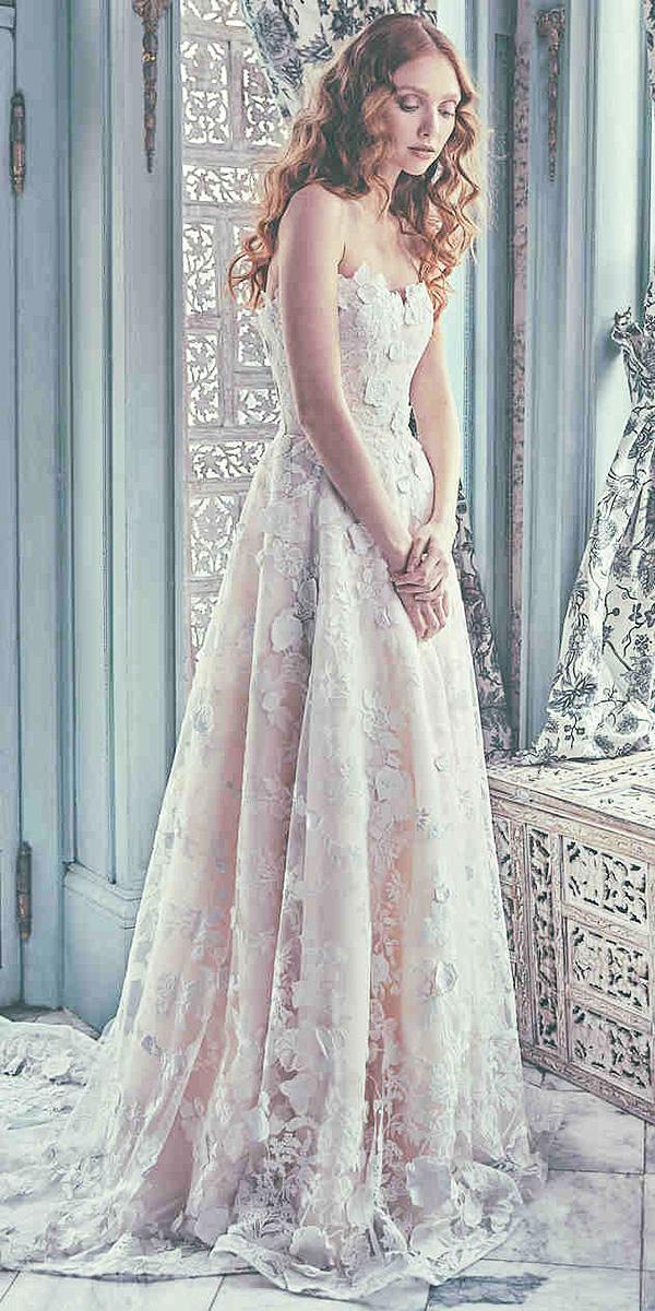 sareh nouri wedding dresses a line sweetheart floral appliques 2018
