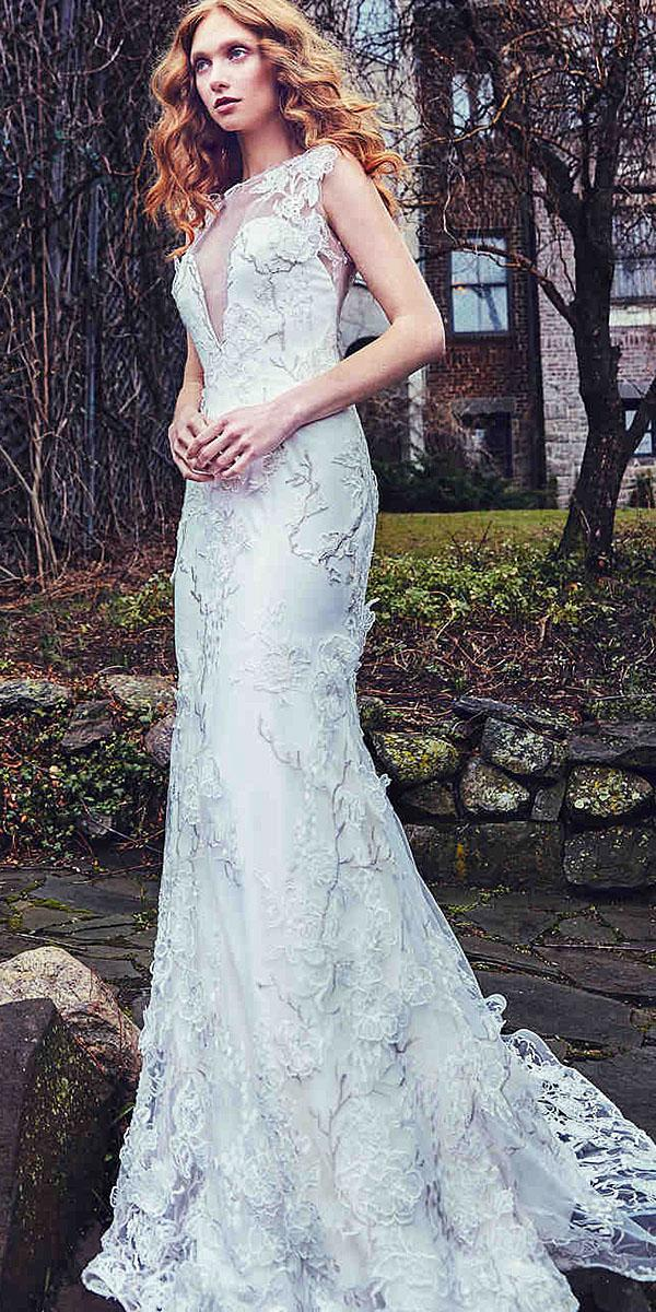 sareh nouri wedding dresses illlusion deep v neckline floral appliques 2018