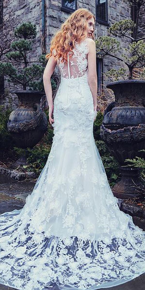 sareh nouri wedding dresses illusion back full lace embellishment 2018
