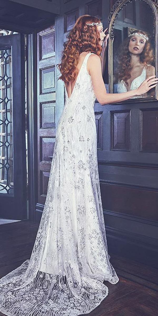sareh nouri wedding dresses sheath v back with train 2018