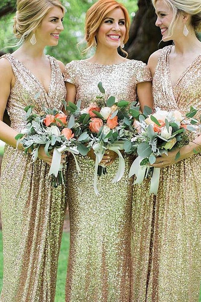 sequin bridesmaid dresses boathneck v neckline gold leslie hollings worth photo