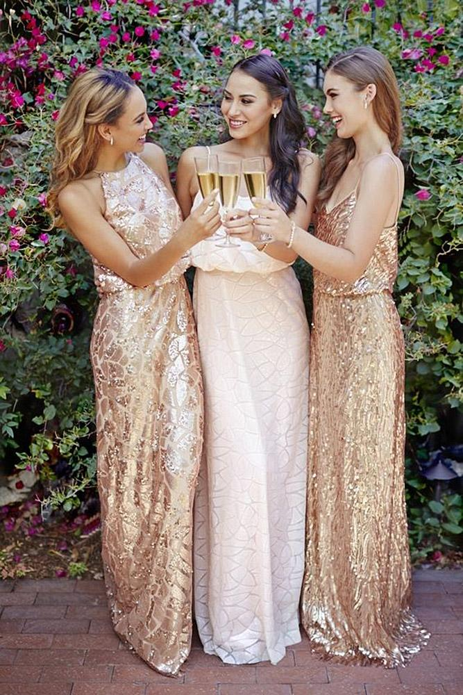 sequin bridesmaid dresses sheath embellisment jewel neckline spaghetti straps gold archetype studio