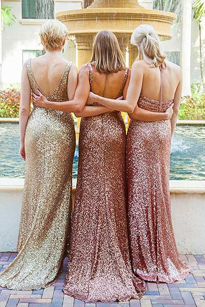 sequin bridesmaid dresses sheath low back rose gold glam alfred angelo bridal
