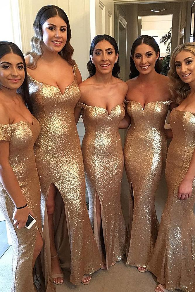 sequin bridesmaid dresses sweetheart off the shoulder gold doll house bridesmaids