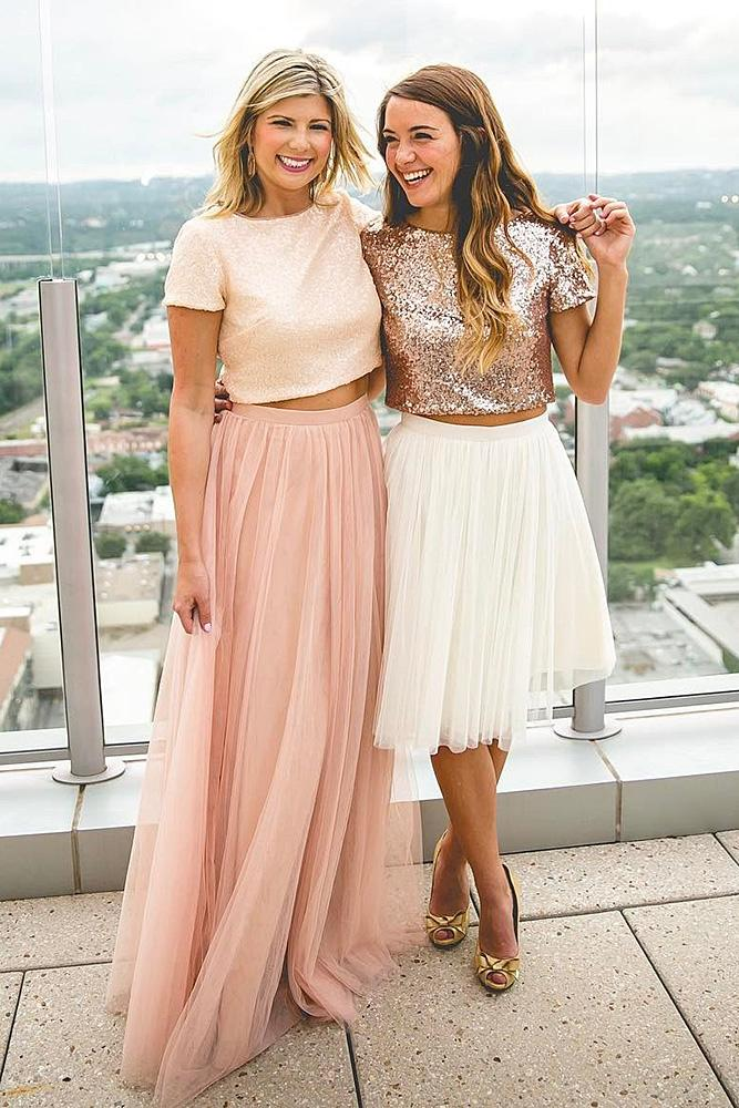 sequin bridesmaid dresses with cap sleeves sparkle top tulle skirt glam revelry