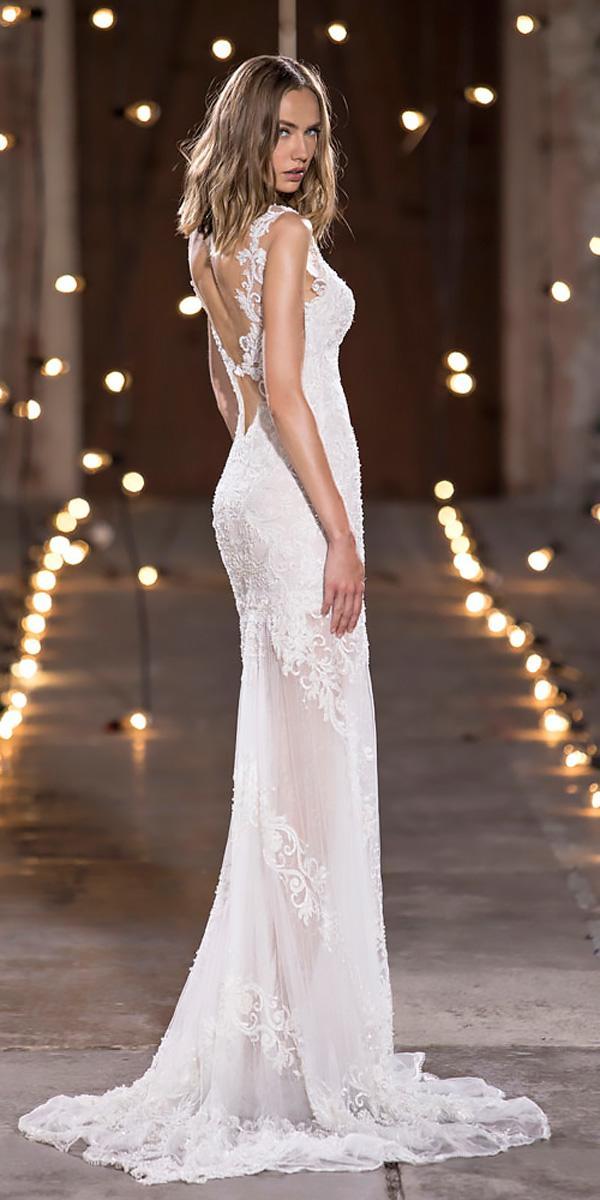 sheath lace spaghetti straps open back nurit hen wedding dresses