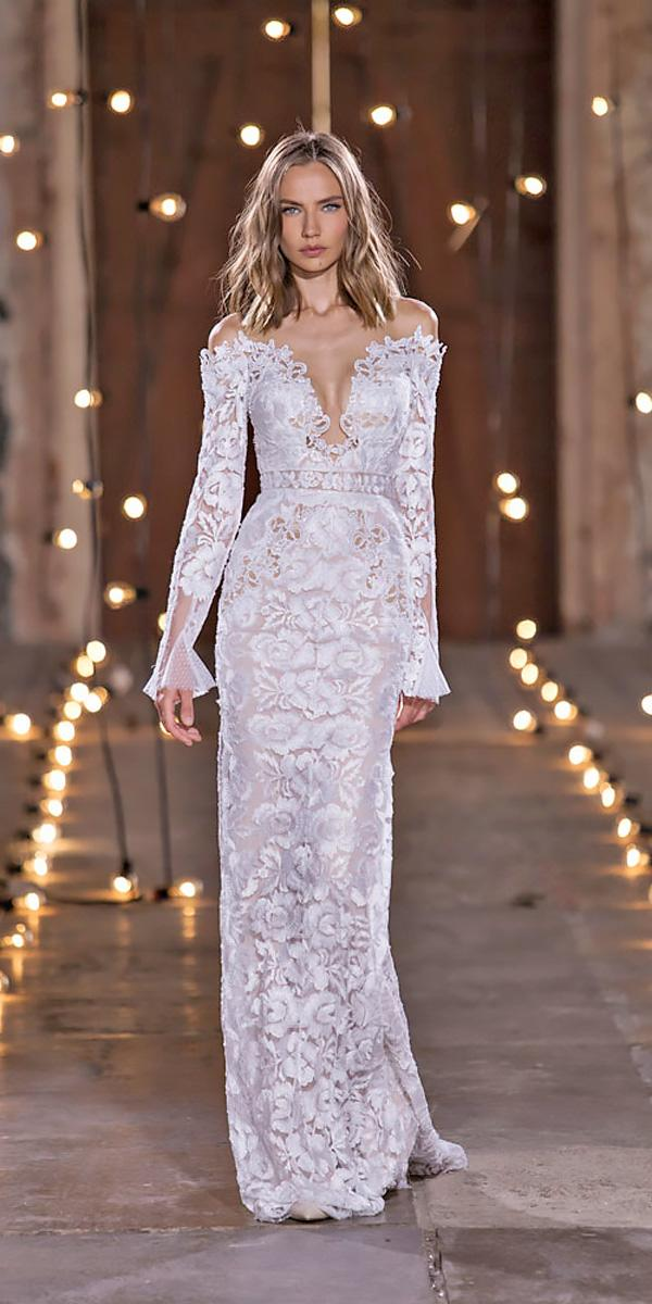sheath lace v neckline off the shoulder with long sleeves wedding dresses nurit hen