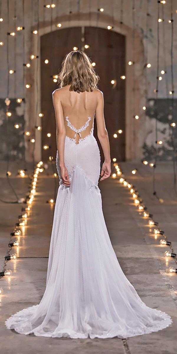 sheath low back lace with train nurit hen wedding dresses