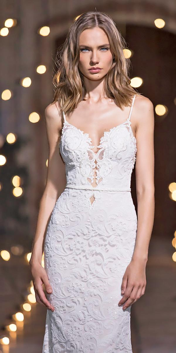 sheath sweetheart lace spaghetti strap nurit hen wedding dresses