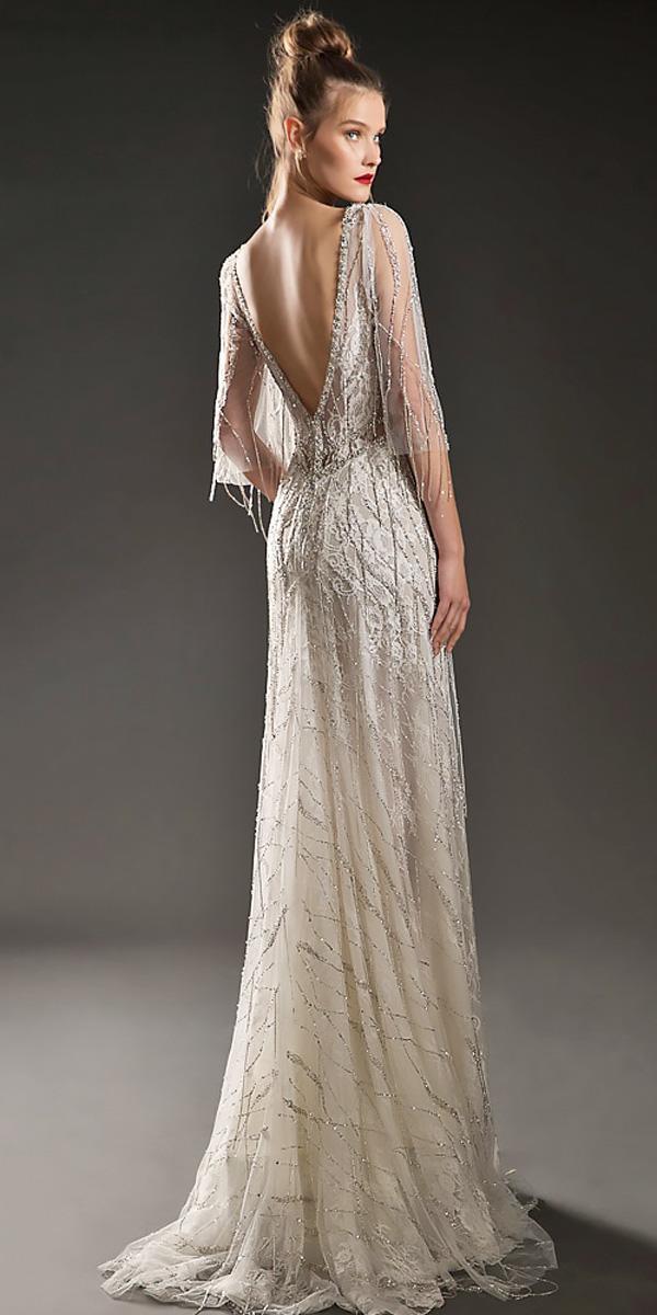 sheath v open back with sleeves vintage wedding dresses emanuel brides