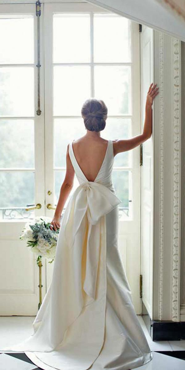 silk wedding dresses a line floor length with deep backles train simple paperlily photography