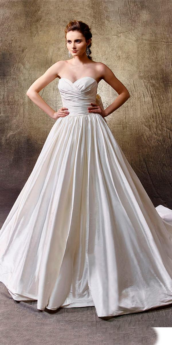 silk wedding dresses a line floor length with sweetheart and train simple enzoani