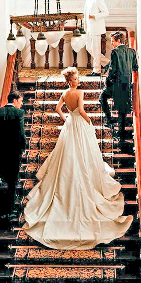 silk wedding dresses a line with deep backless train simple justin alexander