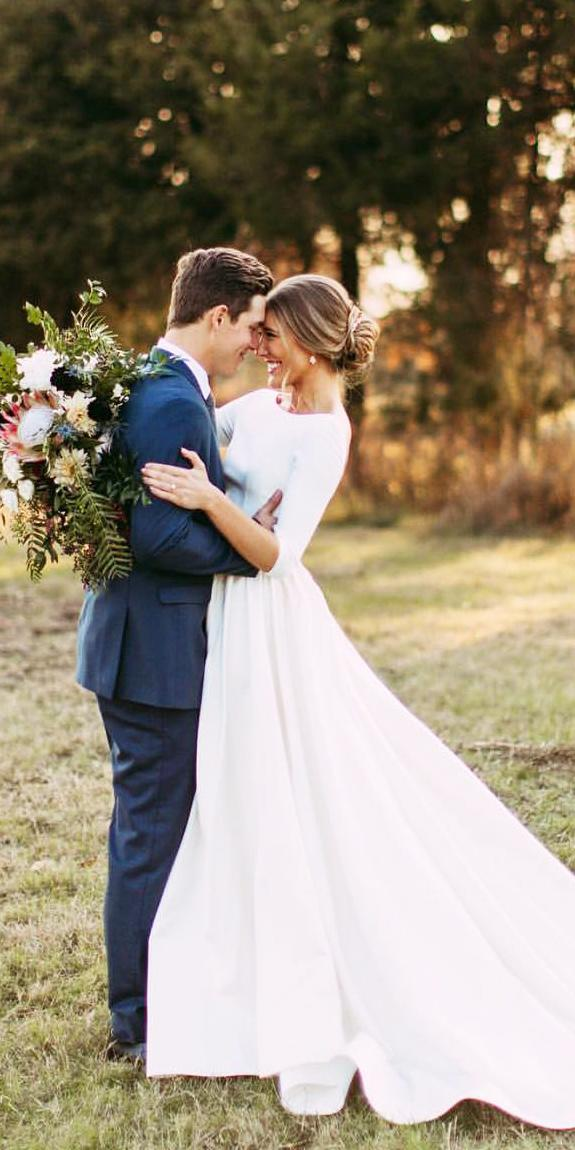 silk wedding dresses a line with sleeves jewel neckline simple chantel lauren designs