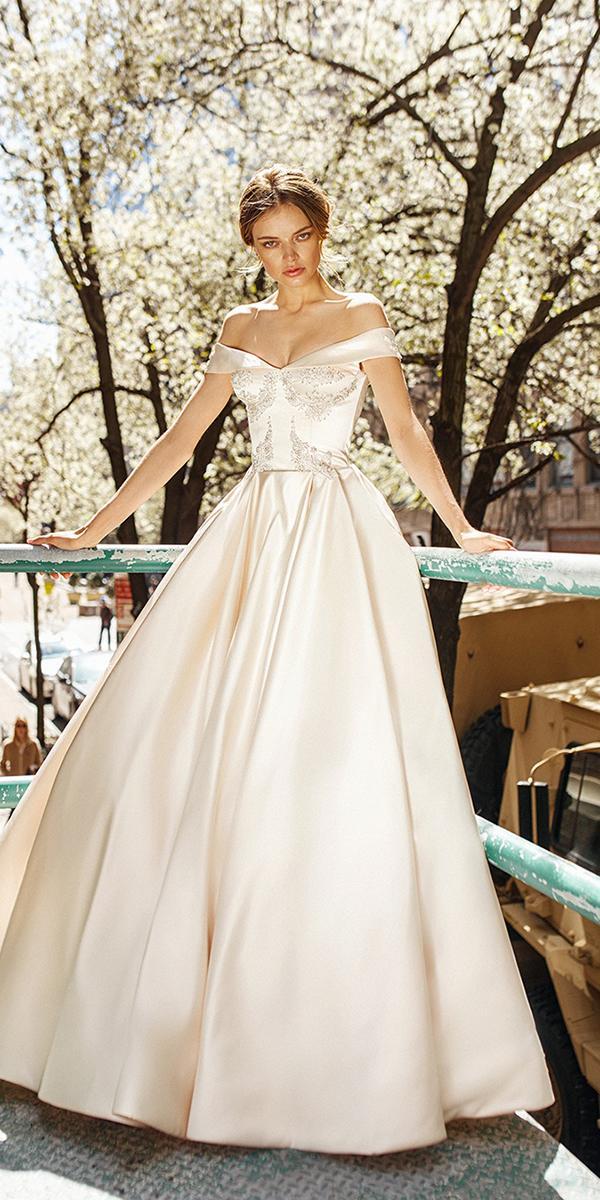 silk wedding dresses ball gown off the shoulder ivory eva lender