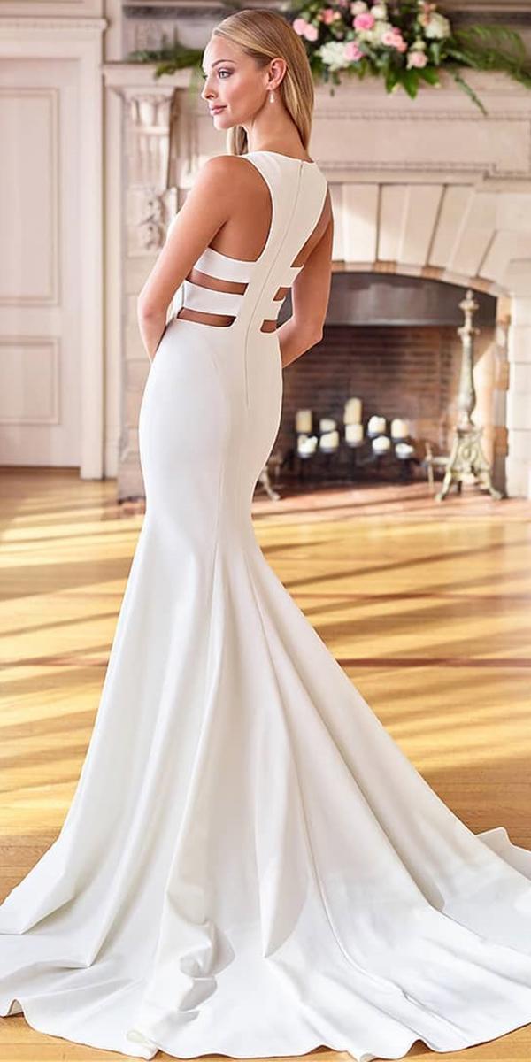 silk wedding dresses mermaid simple cut out back mon cheri bridals