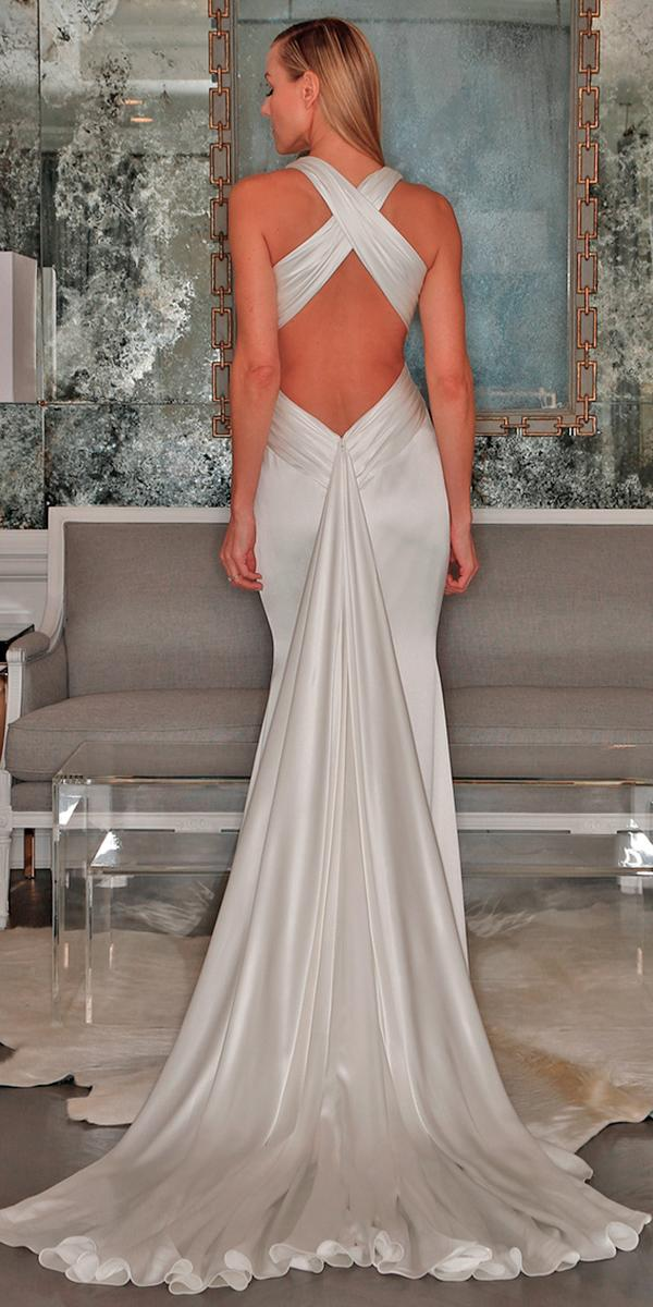 silk wedding dresses sheath floor length with deep backless train simple romona keveza