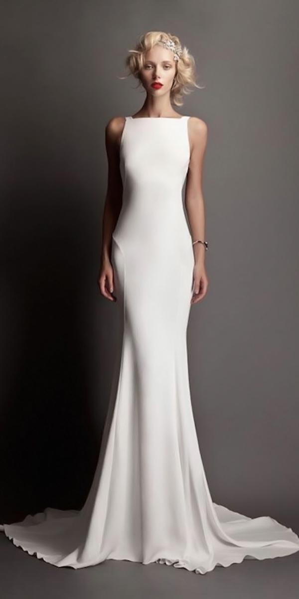 silk wedding dresses sheath floor length with sabrina neckline and train simpl roberto cavalli