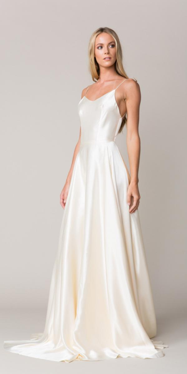 silk wedding dresses sheath floor length with spaghetti strap and deep backless simple provence sarah seven