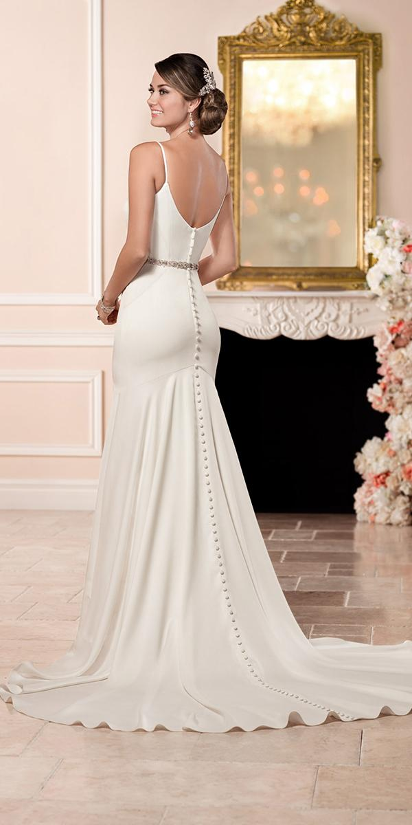 silk wedding dresses sheath floor length with spaghetti straps and deep backless train simple stella york