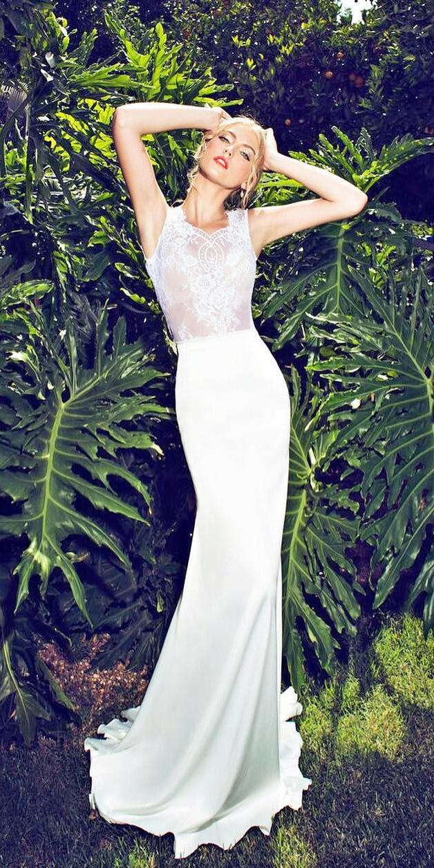 silk wedding dresses sheath lace top sleveless riki dalal