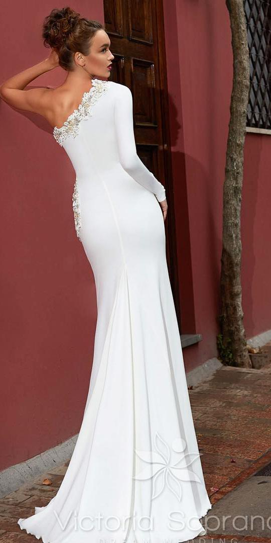 silk wedding dresses sheath with one sleeeves floral beaded victoria soprano