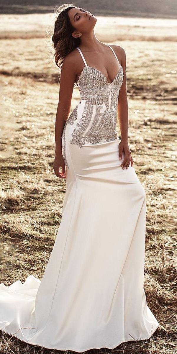 silk wedding dresses sheath with spaghetti straps beaded lurelly