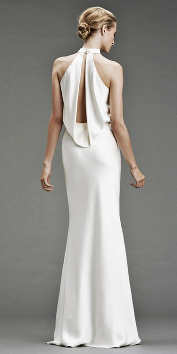 silk wedding dresses with sheath floor length cowl neck ahd deep v neck with keyhole and train simple nicole miller