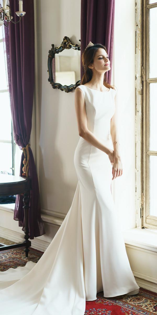 simple trumpet bateau neckline vintage wedding dresses prime sposa