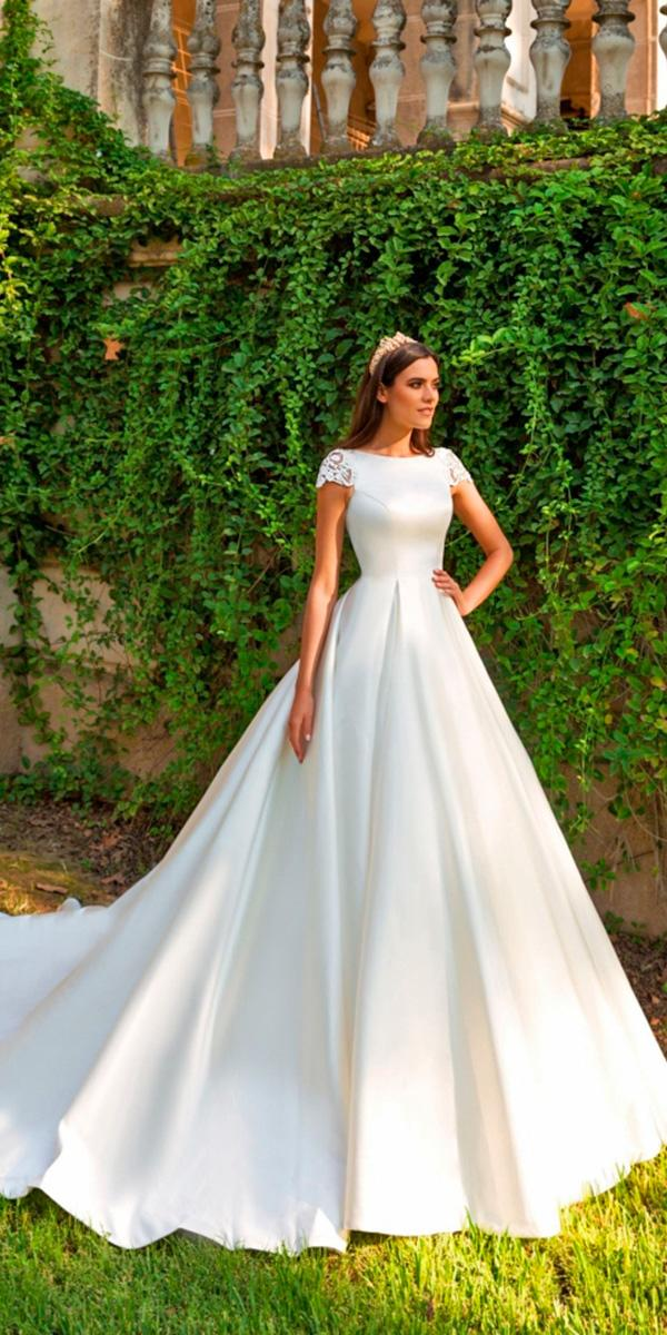 smooth fabric a line simple with bateau neckline and cap sleeves with train crystal design wedding dresses