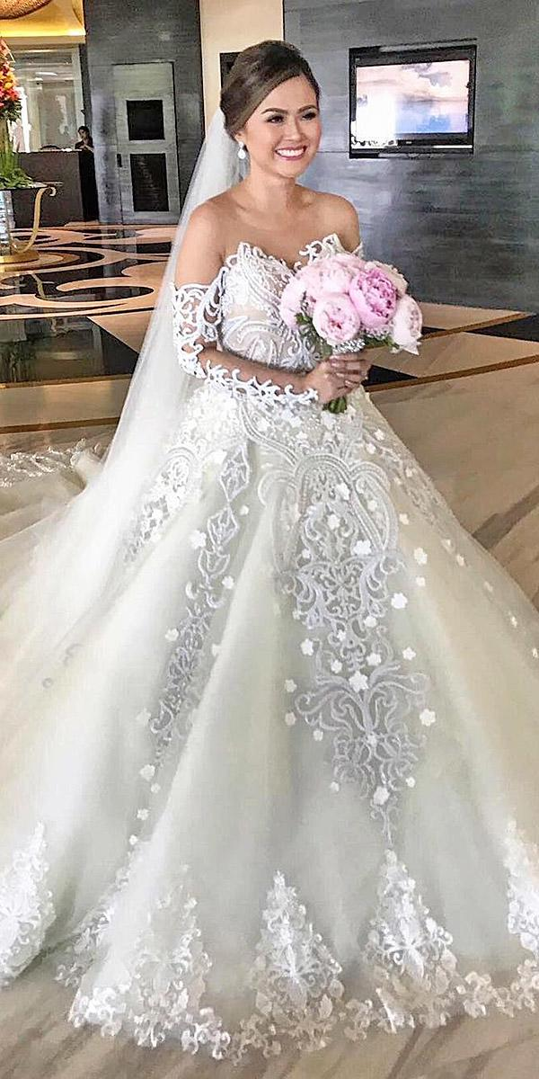 sovannary en couture long sleeve off the shoulder lace wedding dresses