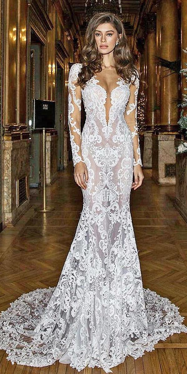 sovannary en couture mermaid wedding dresses with tatto sleeves deep v neckline lace