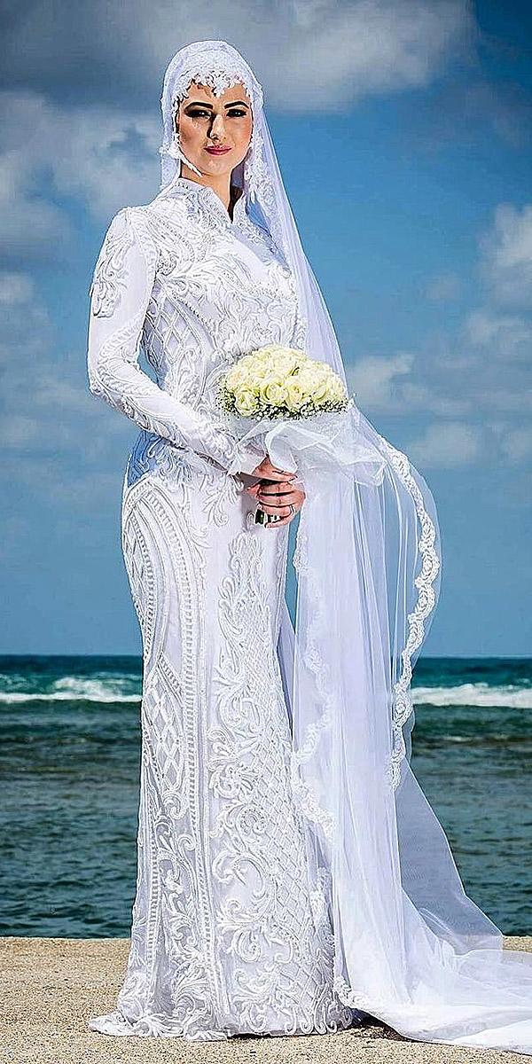 sovannary en couture wedding dresses high neck embellishment with long sleeves
